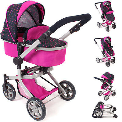 Bayer Chic 2000 Puppenwagen Mika 2in1 (Dots Navy-Pink)