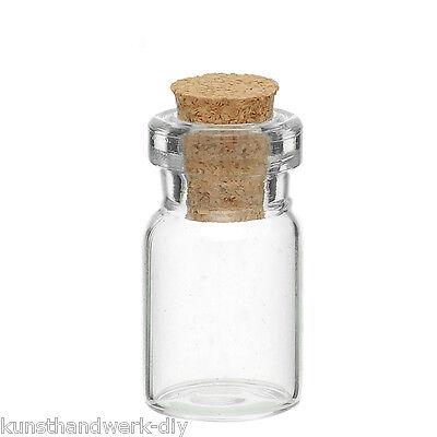 KUS 10 Glasflaschen mit Korken Spund Perlen Behälter Transparent 24mm x10mm