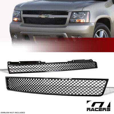 For 2007-2014 Tahoe/Suburban/Avalanche Black Mesh Front Hood Bumper Grill Grille