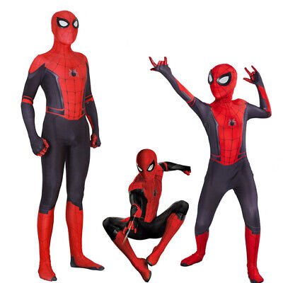 Spider-Man Far From Home Kids Boys Peter Parker Zentai Cosplay Costume Suit