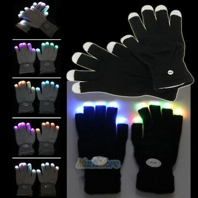 One Pair LED Rave Flashing Gloves Glow 7 Mode Light Up Finger Lighting Black New - Gloving Lights