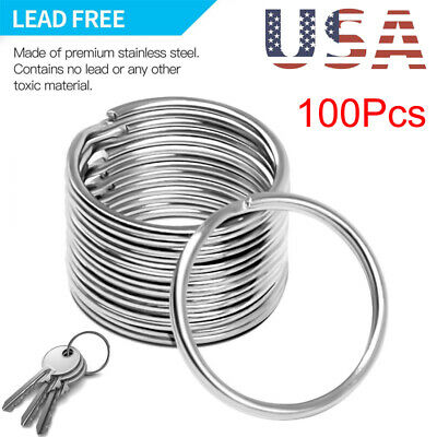 100PCS Lot Key Rings Chains Split Ring Hoop Metal Loop Steel Accessories 25MM sm