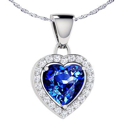 """1.62 Ct Blue Sapphire Heart Pendant Necklace 925 Sterling Silver w/ 18"""" Chain"""