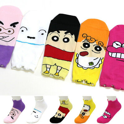 5 Pairs Women Girls Socks Crayon Shin-Chan Friends Cartoon Socks Character Socks