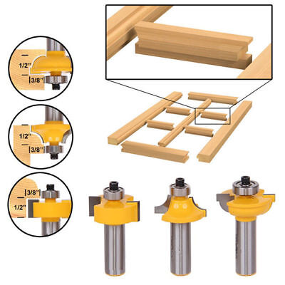 """3× Glass Door Router Bits Set Round Over Bead 1/2"""" Shank Woodworking Cutter Tool"""