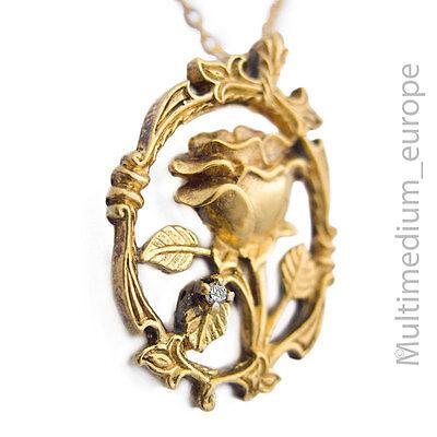 Diamant Silber Anhänger Rose vergoldet Blume silver gilt pendant rose flower