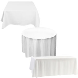 WHITE BLACK IVORY Polyester Tablecloth TABLE COVER CLOTH Banquet Wedding Party