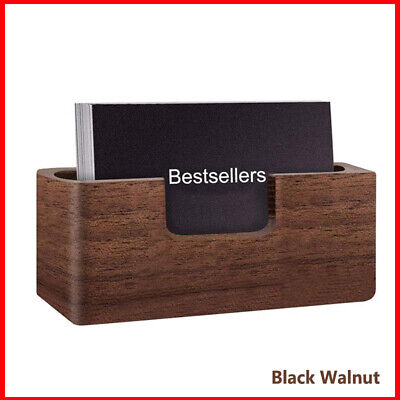 Wooden Business Card Holder Storage Card Case Box Office Name Card Display Stand