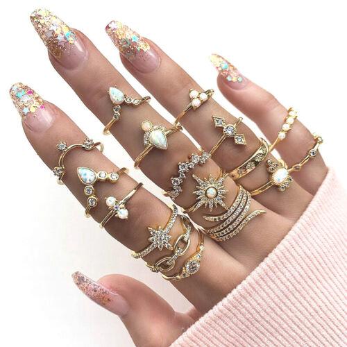 17Pcs Gold Midi Finger Ring Set Vintage Punk Boho Above Knuc