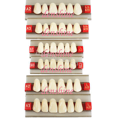 Fda Acrylic Resin Denture Dental Upper Anterior Teeth Shade G419 425 438 A2 A3