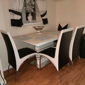 High Gloss White Dining Table & 4 Chairs