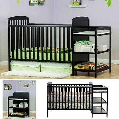Baby Crib Changing Table Set Full Size Nursery Furniture Bas