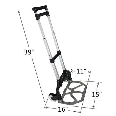 176lbs Cart Folding Dolly Push Truck Hand Collapsible Trolley Luggage Aluminium