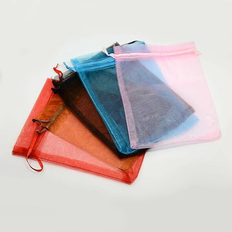 100pc Organza Bags Jewelery Storage Pouches Mesh Party Drawstring Gift Making
