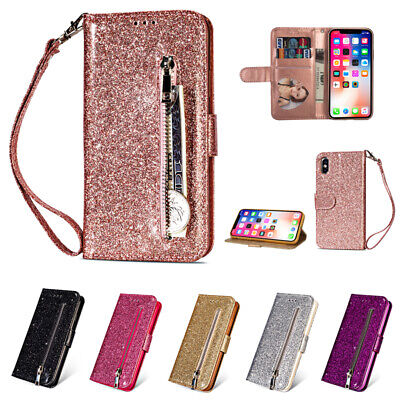 Bling Glitter Magnetic Flip Leather Wallet Case Cover For iPhone Samsung Galaxy