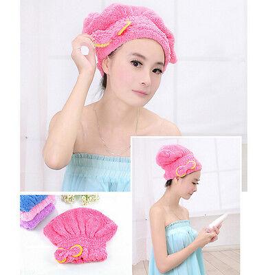 1x Dry Hair Cap Duschhaube Super Absorbent Microfiber Hair Wrap Handtuch
