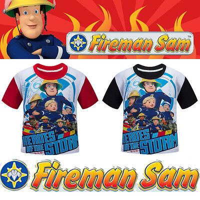 Kids Boy Fireman Sam Costume Short Sleeve Clothes Tops Summer T-shirt Tee Shirts - Boy Fireman Costume