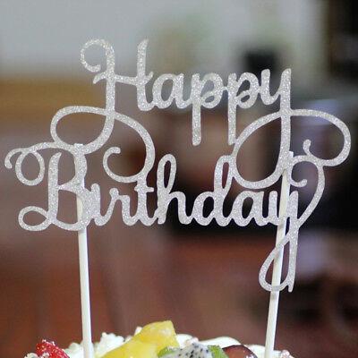 10x Happybirthday Kuchenstecker Cake Tortenfigur Topper Tortenaufsatz Glitter  ()