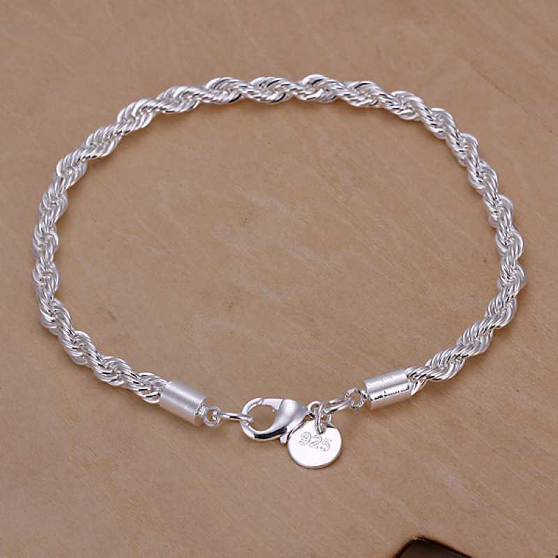 Damen Silberarmband Armband 925 Silber plattiert Armkette gedreht Schmuck 20 cm