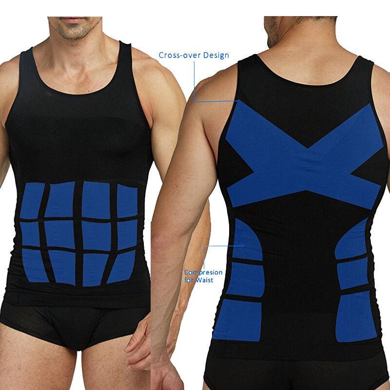 Men's T-Shirt Body Shaper Vest Abdomen Waist Compression Fit