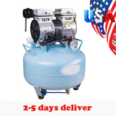 Professional 30l Dental Air Compressor Medical Silent Noiseless Oilless Motor Us