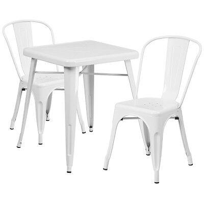 23.75 Industrial White Metal Indoor-outdoor Restaurant Table Set W 2 Chairs