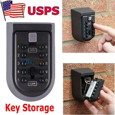 Combination Lock Box Wall Mount (10 Digit Combination Hide Key Lock Box Storage Wall Mount Security Outdoor)