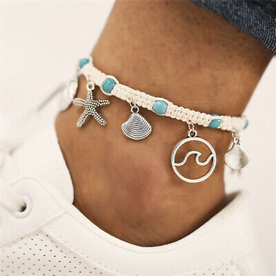 2019 New Boho Beach Starfish Shell Wave White Rope Turquoise Anklet Ankle Chain