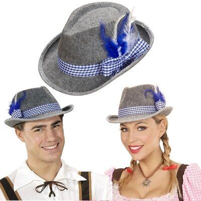 TRACHTEN TIROLER Hut blau/weißes Band mit Feder - Bayern Oktoberfest Fedora 5711 Weißer Filz Fedora