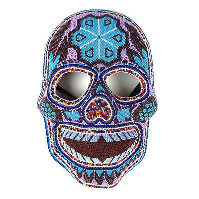 Huichol Beaded Mask Dia De Los Muertos Mexican Bead Folk Art Day of the Dead