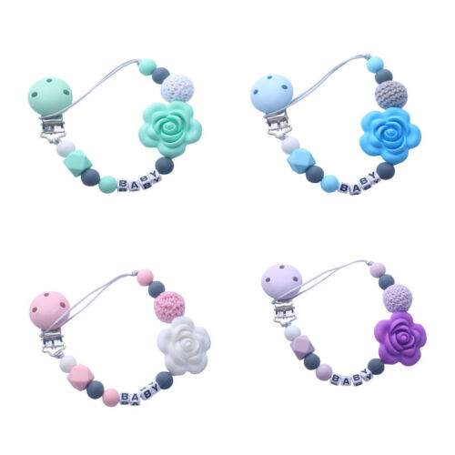 Personalized Name Silicone Flower Beads Pacifier Holder Clip Chain Teething Clip