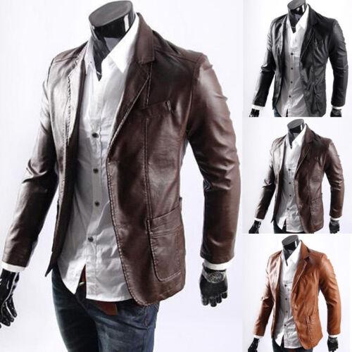 moda uomo similpelle Giacca da motociclista biker slim cappotti PUNK maglia