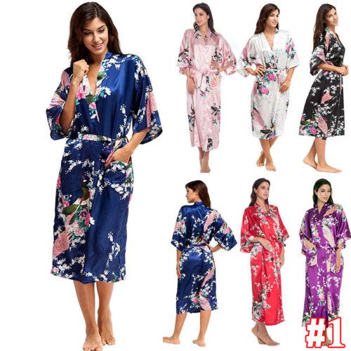 Damen Seide Spitze Bademantel Blumen Kimono Kleid Hochzeit Nachtwäsche Dessous