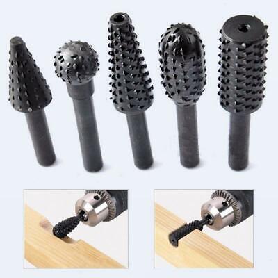 Black Steel Rotary Burr 5pcs Set 1/4'' 6mm Shank Wood Drill