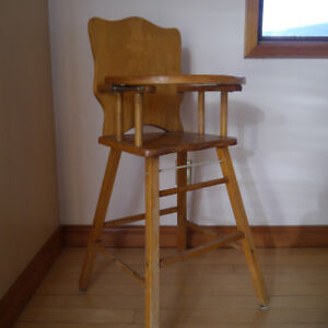 wood highchair and rocking chair