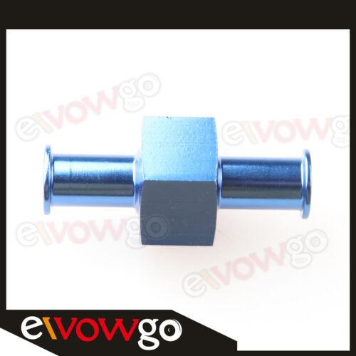"8mm Billet Fuel Pressure Gauge Inline Barb Adapter with 1/8"" Port Blue Aluminum"