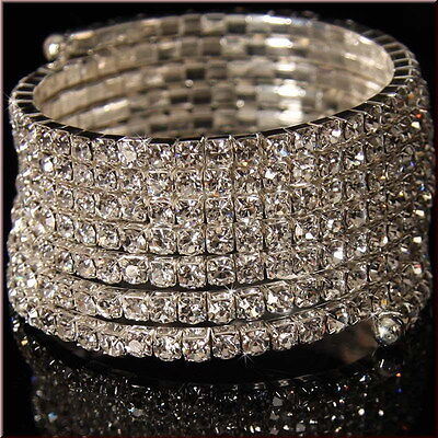 Women Rhinestone Spiral Upper Arm Cuff Armlet Crystal Wedding Armband - Arm Cuffs