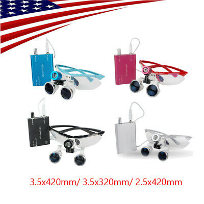Us Dental Loupes Surgical Binocular Magnifying Optical Glass Led Head Light Lamp