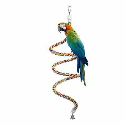 Etrech Bird Toy, Spiral Rope Bungee Perch, Pure Natural Colorful Parrot Swing -