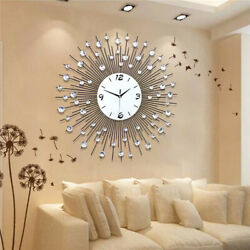 New Luxury Scenic Iron Art Metal Living Room Round Diamond Wall Clock Home Decor