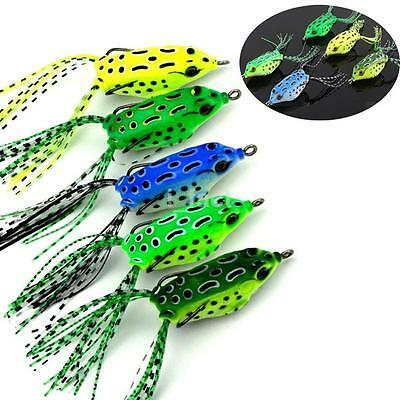 Set of 5PCS Cute Frog Topwater Fishing Lure Crankbait Hooks Bass Bait Tackle