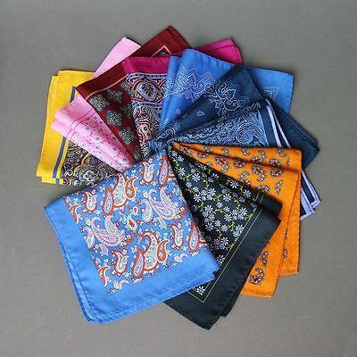 13.38in Mens Handkerchief  Plaid Paisley  Silk Wedding Party Pocket Square Hanky