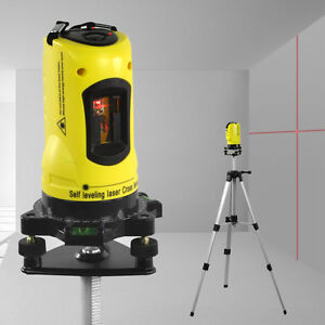 360° Rotary Laser Level Self-Levelling Cross Line Measuring Tripod Stand & Case