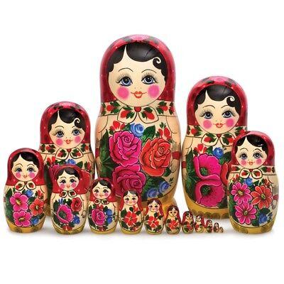 Russian Semenov Nesting dolls Matryoshka set 15 pcs. Hand painted in Russia 12