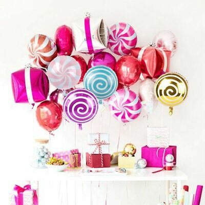 6Pcs 18inch Foil Round Candy Lollipop Balloons Birthday Party Wedding Gift Decor (Round Balloons)