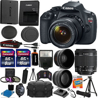 Canon EOS Rebel T5 1200D SLR Camera + 3 Lens 18-55 IS +24GB KIT & More Brand New