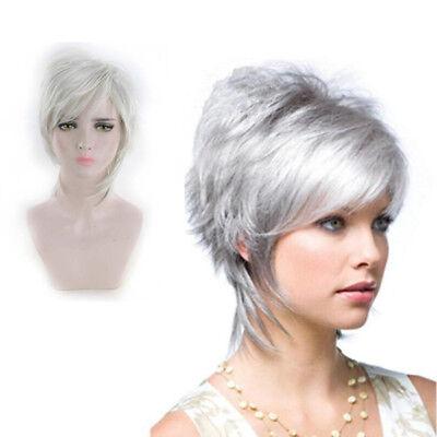 Kurz Silber Grau Perücke Mode Damen Haar Perücken Wig Neu Trends Fashion