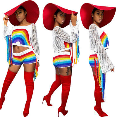 Womens Long Sleeve Mesh Rainbow Tassel Print Crop Top Shorts Casual 2 Piece Set