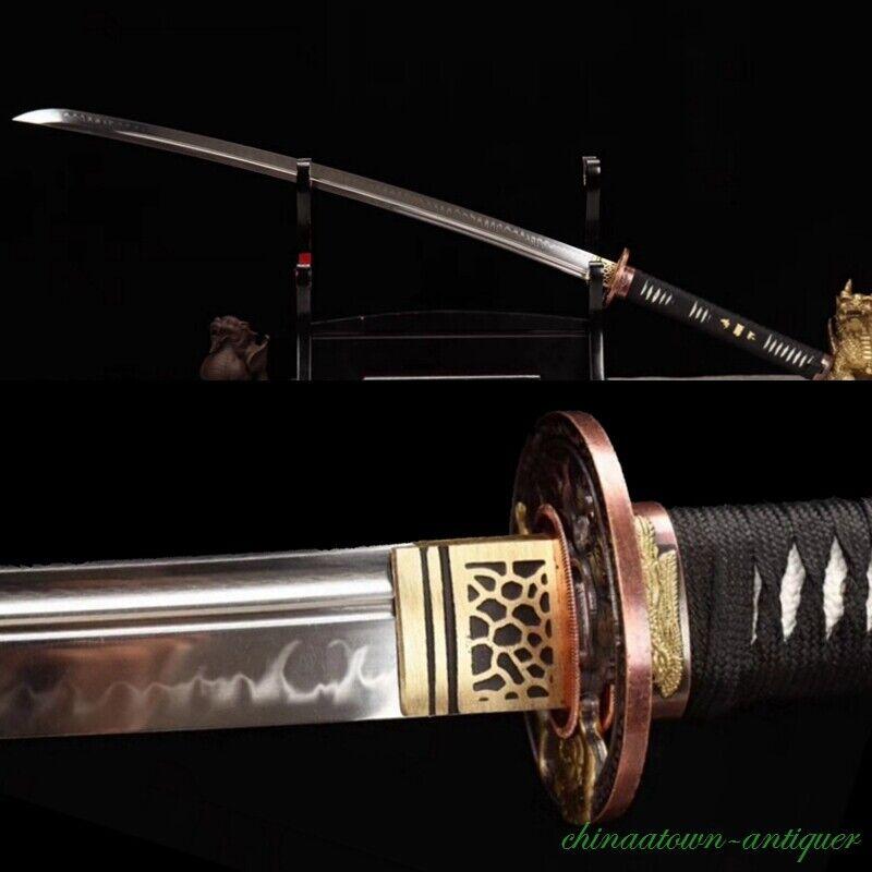 T10 Steel Unokubitsukuri Blade Clay Tempered Sharp Japanese Sword Katana #2724