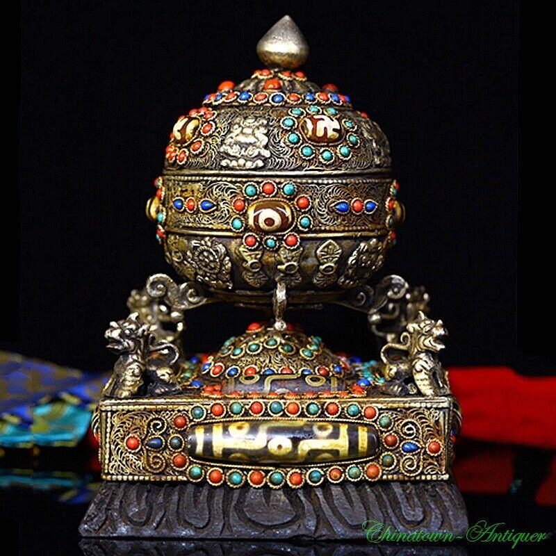 Old Prayer Wheel / Mani Wheel Tibetan Silver Filigree Craft Inlay Dzi Bead #3228